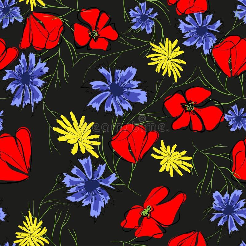 Άνευ ραφής σχέδιο των λουλουδιών άνοιξη Παπαρούνα, chamomile, cornflower Απεικόνιση στο μαύρο υπόβαθρο διανυσματική απεικόνιση