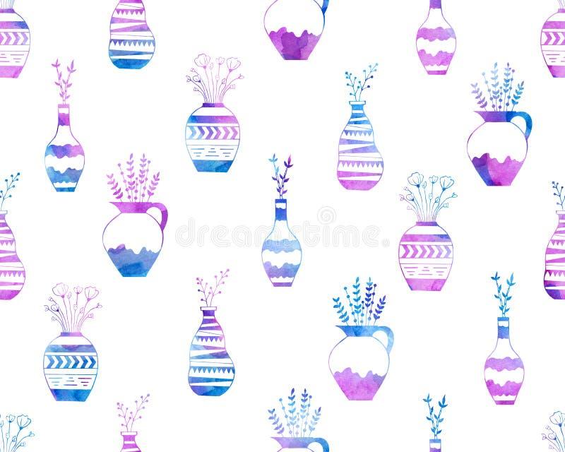 Άνευ ραφής σχέδιο των λουλουδιών στα βάζα στο ροζ και το μπλε watercolor διανυσματική απεικόνιση