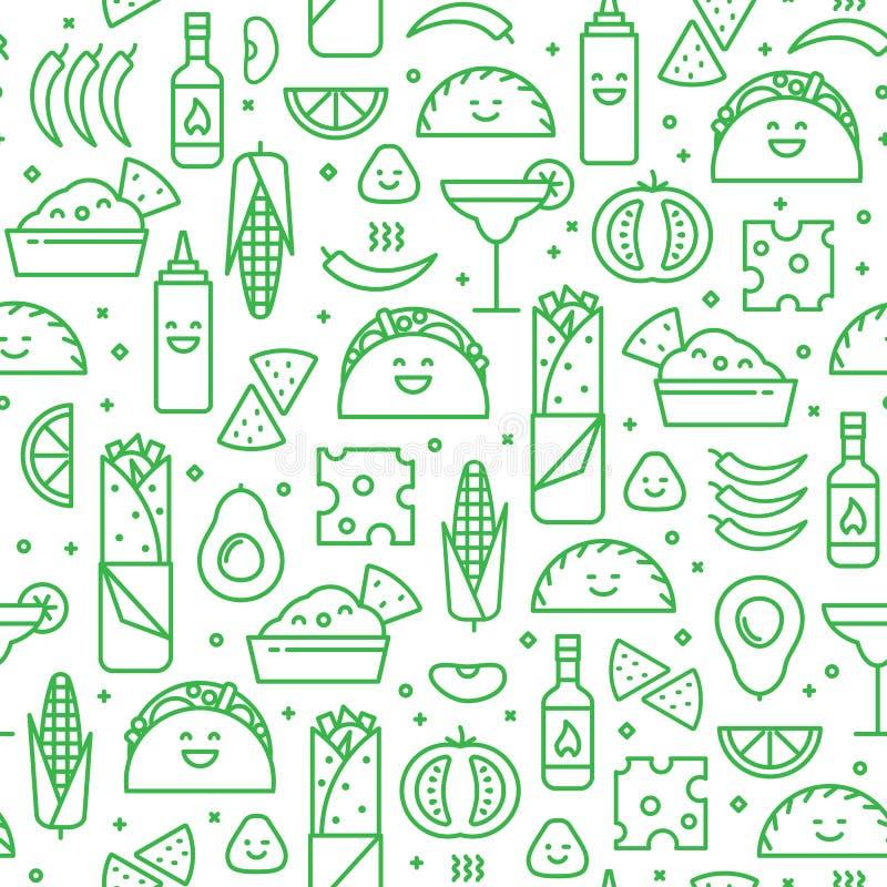 Άνευ ραφής σχέδιο των μεξικάνικων τροφίμων, ύφος γραμμών απεικόνιση αποθεμάτων