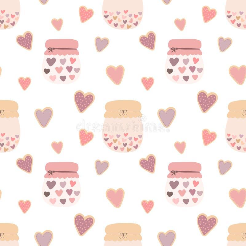 Άνευ ραφής σχέδιο των μπισκότων καρδιών μορφής αγάπης, βάζα της μαρμελάδας σε ένα ελαφρύ υπόβαθρο Διανυσματική εικόνα για την ημέ ελεύθερη απεικόνιση δικαιώματος
