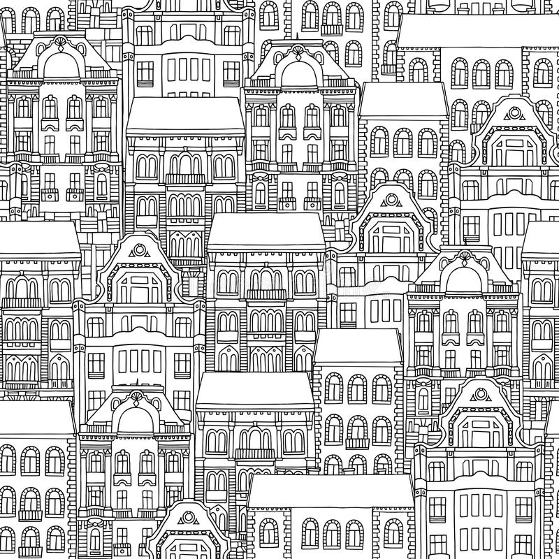 Άνευ ραφής σχέδιο των ουγγρικών σπιτιών διανυσματική απεικόνιση