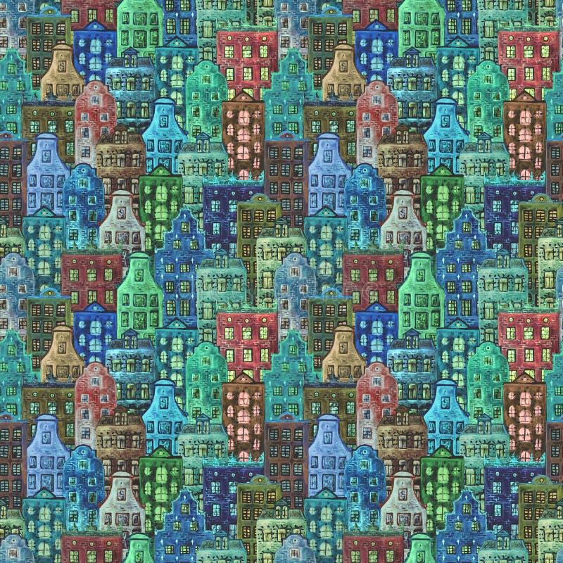 Άνευ ραφής σχέδιο των παλαιών σπιτιών της Ευρώπης watercolor στοκ εικόνα με δικαίωμα ελεύθερης χρήσης