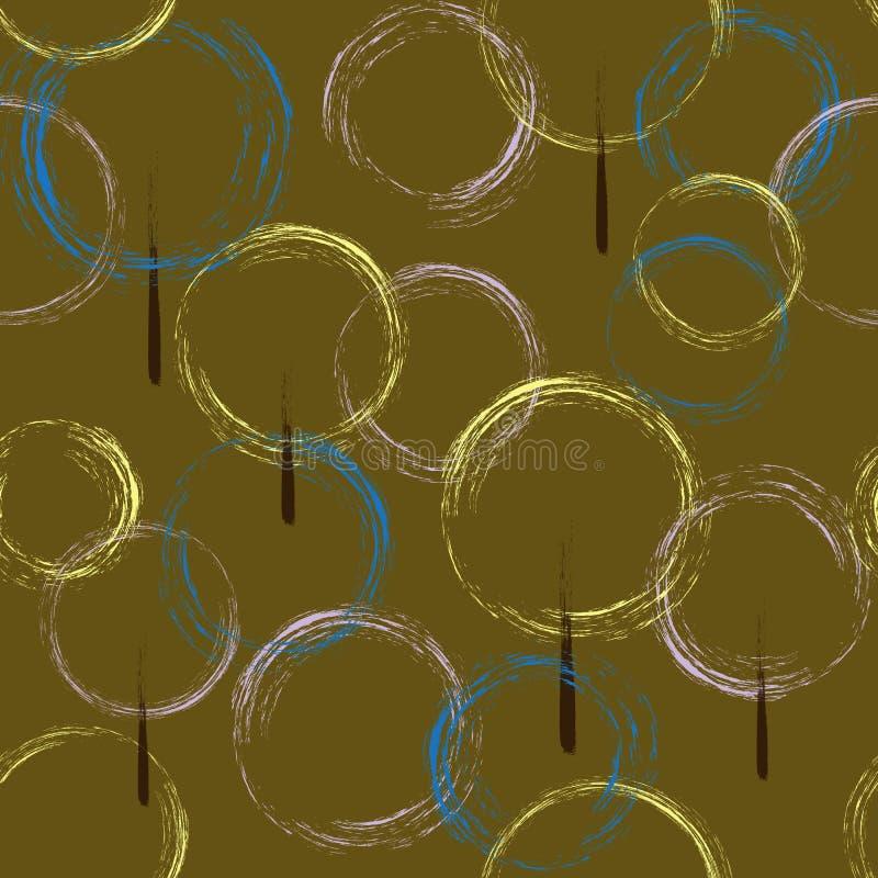 Άνευ ραφής σχέδιο των περιγραμμάτων των κύκλων, δέντρα σε ένα καφετί υπόβαθρο r ελεύθερη απεικόνιση δικαιώματος