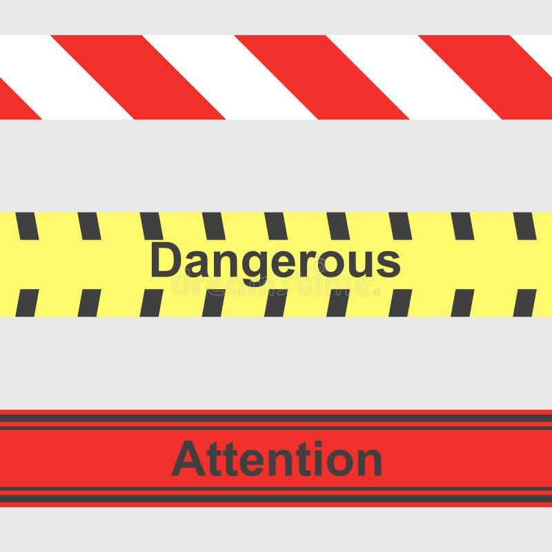Άνευ ραφής σχέδιο των περιφράζοντας και προειδοποιώντας κορδελλών σε ένα γκρίζο υπόβαθρο διανυσματική απεικόνιση