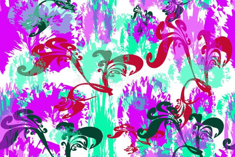 Άνευ ραφής σχέδιο των πολύχρωμων αφηρημένων λουλουδιών και των φύλλων ελεύθερη απεικόνιση δικαιώματος