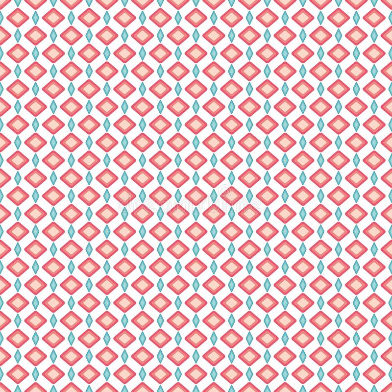 Άνευ ραφής σχέδιο των ρόδινων και κυανών γεωμετρικών μορφών κρητιδογρ απεικόνιση αποθεμάτων