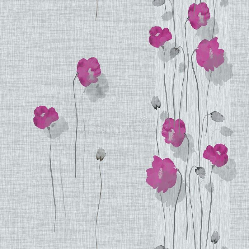 Άνευ ραφής σχέδιο των ρόδινων λουλουδιών των παπαρουνών σε ένα ελαφρύ τυρκουάζ υπόβαθρο watercolor απεικόνιση αποθεμάτων