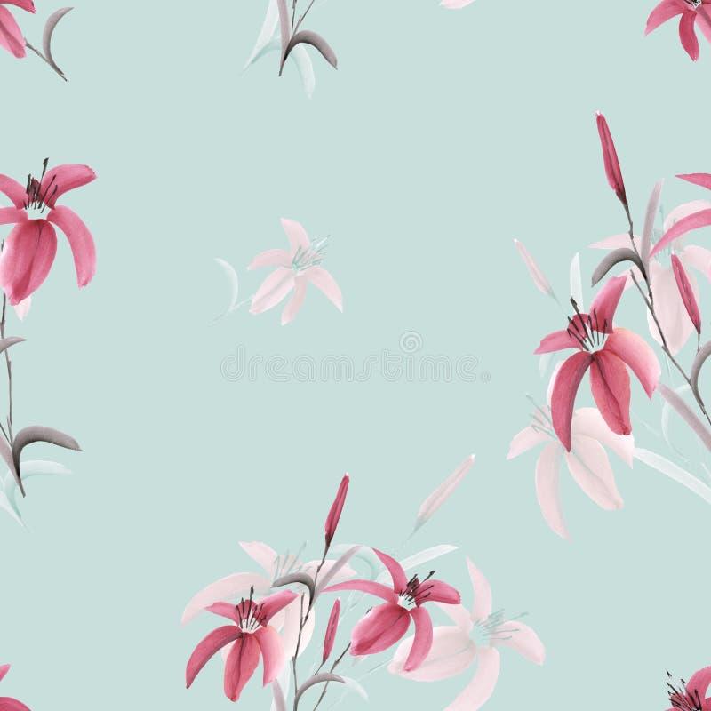 Άνευ ραφής σχέδιο των ρόδινων λουλουδιών του κρίνου σε ένα ελαφρύ τυρκουάζ υπόβαθρο watercolor απεικόνιση αποθεμάτων