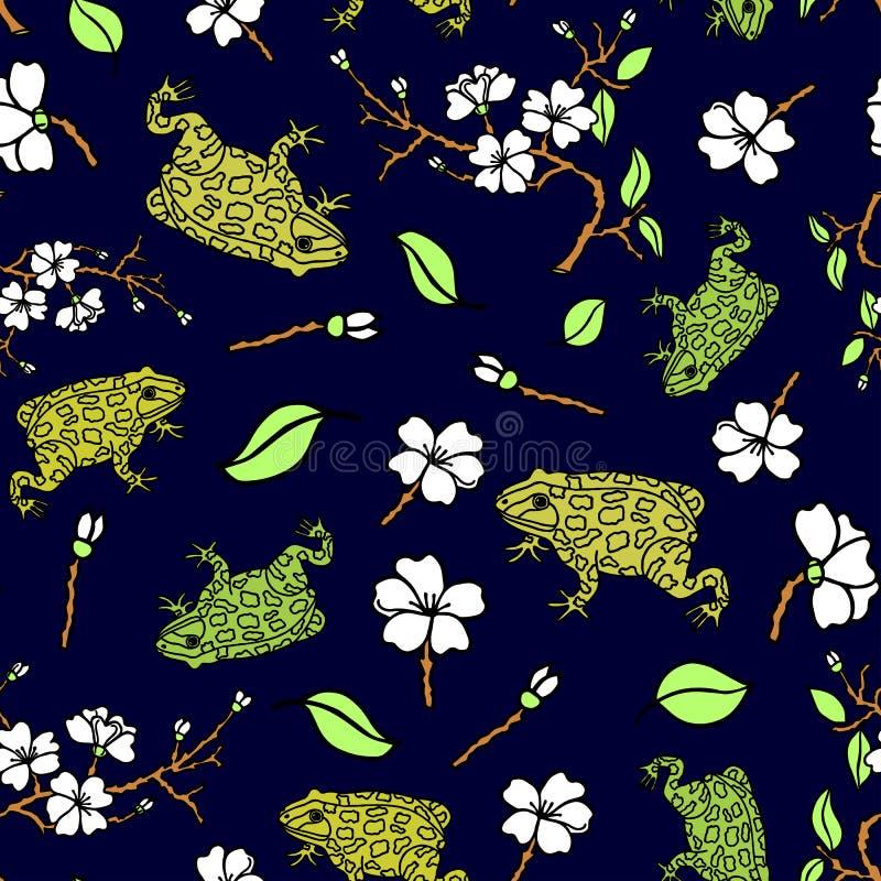 Άνευ ραφής σχέδιο των φρύνων και λουλούδια, κλάδοι, φύλλα του δέντρου μηλιάς Σχέδιο χεριών r απεικόνιση αποθεμάτων