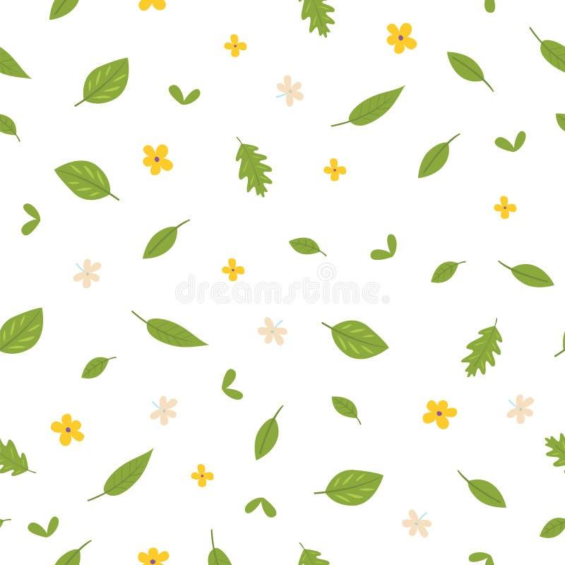 Άνευ ραφής σχέδιο των φύλλων και των λουλουδιών Επίπεδο ύφος απεικόνιση αποθεμάτων