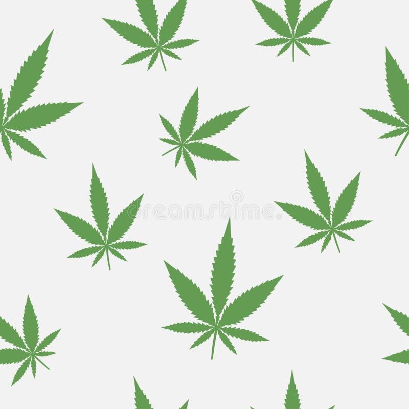 Άνευ ραφής σχέδιο των φύλλων της μαριχουάνα υπόβαθρο με τις καννάβεις ελεύθερη απεικόνιση δικαιώματος