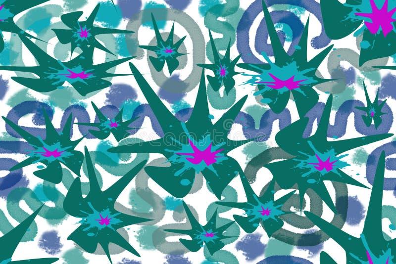 Άνευ ραφής σχέδιο των χρωματισμένων αφηρημένων στοιχείων διανυσματική απεικόνιση