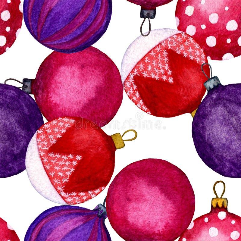 Άνευ ραφής σχέδιο των χρωματισμένων σφαιρών Χριστουγέννων Διακοσμήσεις διακοπών για την καλή χρονιά Απεικόνιση Watercolour του χε ελεύθερη απεικόνιση δικαιώματος