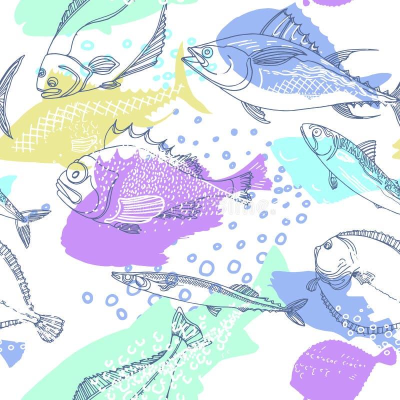 Άνευ ραφής σχέδιο των ψαριών θάλασσας φύσης διάνυσμα ελεύθερη απεικόνιση δικαιώματος