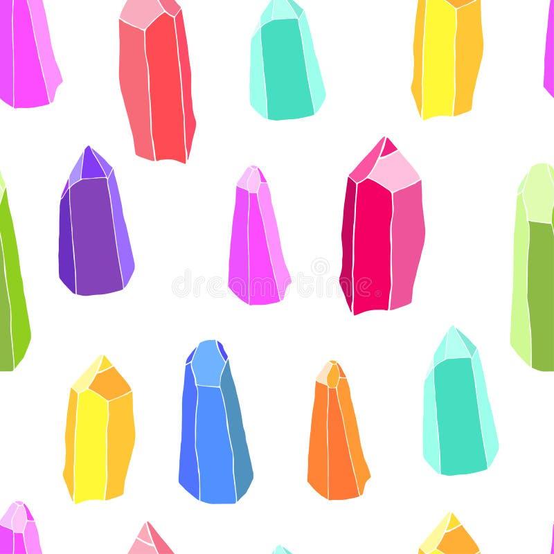 Άνευ ραφής σχέδιο των όμορφων ζωηρόχρωμων κρυστάλλων σε ένα λευκό διανυσματική απεικόνιση
