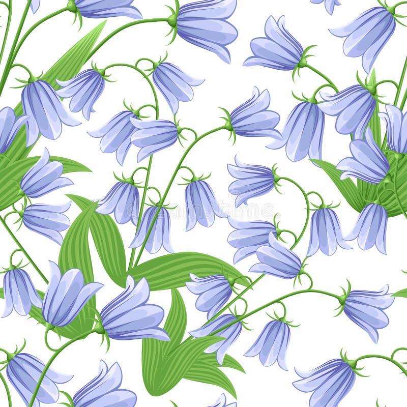 Άνευ ραφής σχέδιο των bluebells Λουλούδια Bluebell με τα πράσινα φύλλα διανυσματικό λευκό καρ&chi ελεύθερη απεικόνιση δικαιώματος
