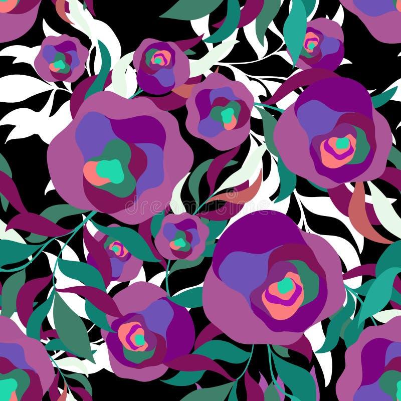 Άνευ ραφής σχέδιο των psychedelic κομψών λουλουδιών στη μαύρη ανασκόπηση διανυσματική απεικόνιση