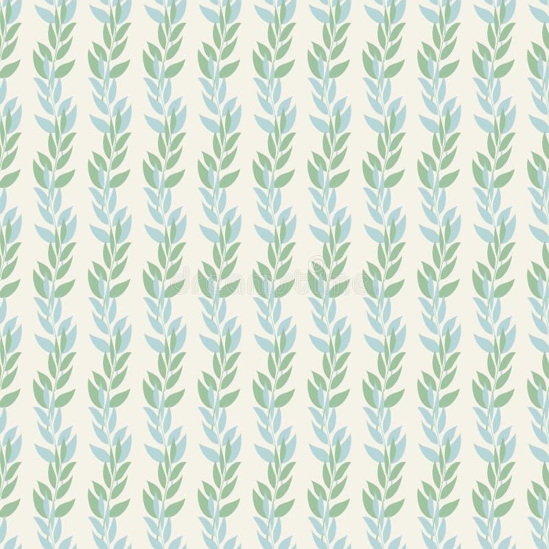 Άνευ ραφής σχέδιο υποβάθρου των φύλλων και των φύλλων κλάδων στις σκιές κρητιδογραφιών πράσινος και μπλε σε ένα μπεζ υπόβαθρο αφη διανυσματική απεικόνιση