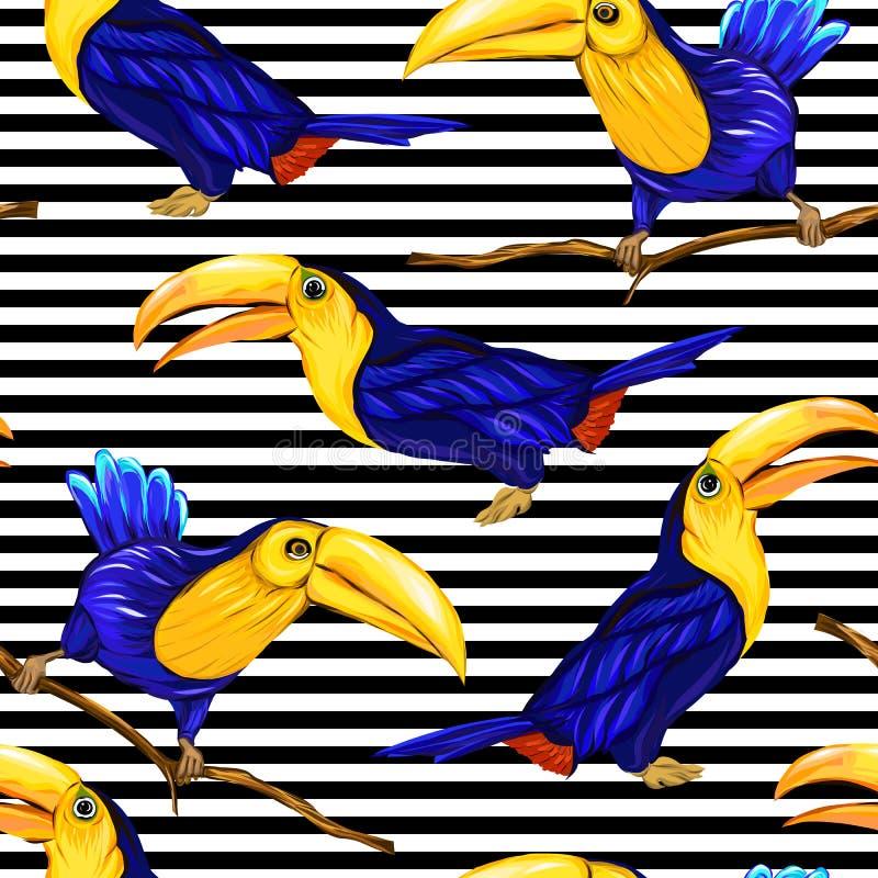 Άνευ ραφής σχέδιο, υπόβαθρο με τα πουλιά επίσης corel σύρετε το διάνυσμα απεικόνισης διανυσματική απεικόνιση