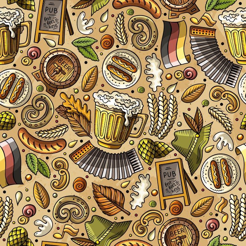 Άνευ ραφής σχέδιο φεστιβάλ μπύρας κινούμενων σχεδίων χαριτωμένο συρμένο χέρι απεικόνιση αποθεμάτων