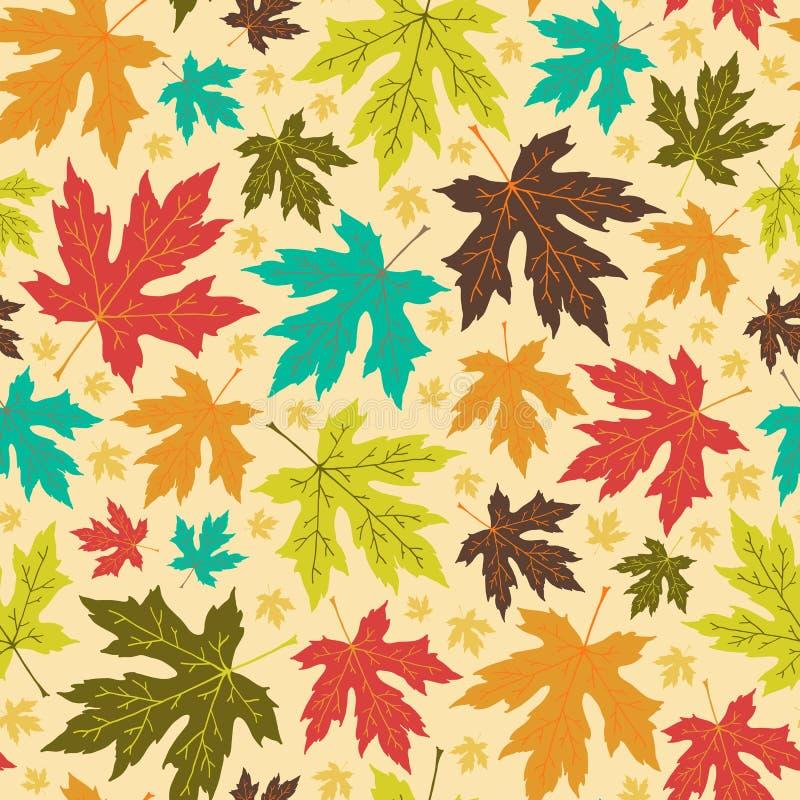 Άνευ ραφής σχέδιο φθινοπώρου από τα φωτεινά φύλλα σφενδάμου ελεύθερη απεικόνιση δικαιώματος