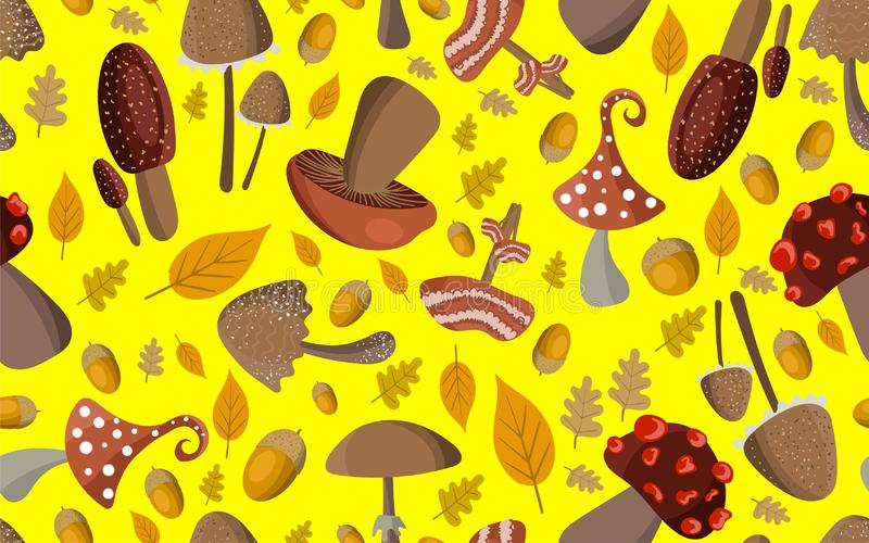 Άνευ ραφής σχέδιο φθινοπώρου Σχέδιο με τα δασικά μανιτάρια, τα βελανίδια και τα κίτρινα φύλλα σε ένα φωτεινό κίτρινο υπόβαθρο διανυσματική απεικόνιση