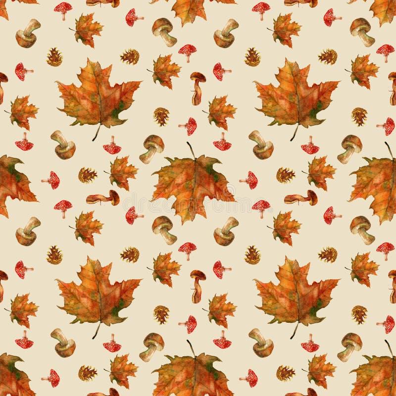 Άνευ ραφής σχέδιο φθινοπώρου με τα φύλλα και τα μανιτάρια ελεύθερη απεικόνιση δικαιώματος