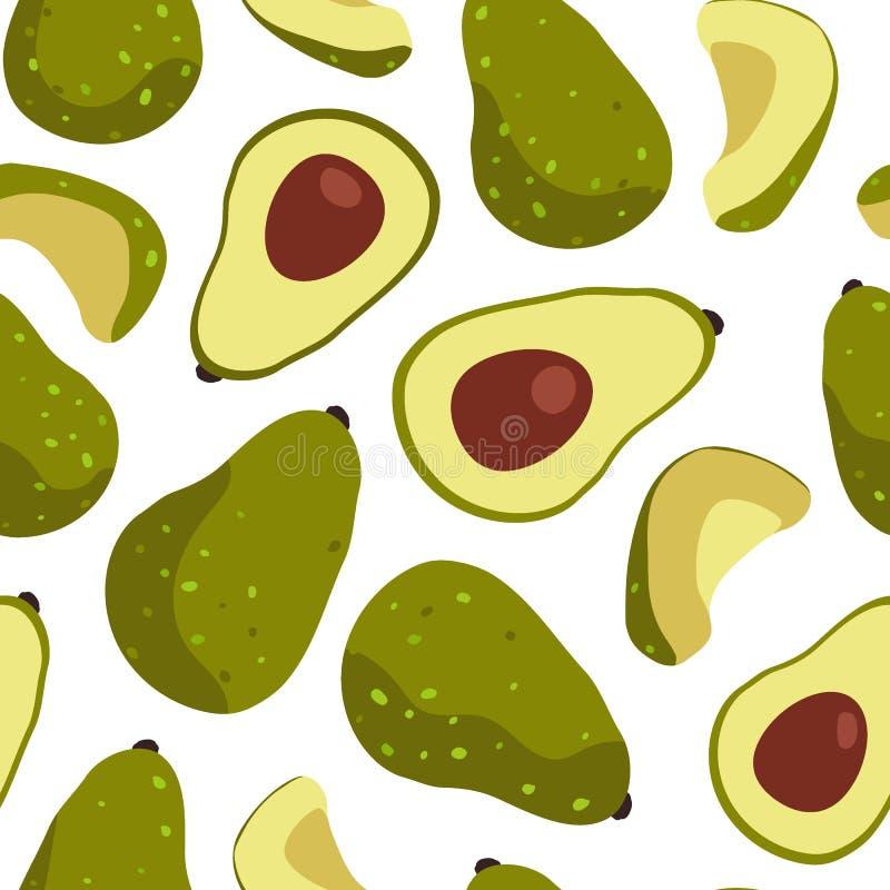 Άνευ ραφής σχέδιο φρούτων αβοκάντο στο άσπρο υπόβαθρο διανυσματική απεικόνιση