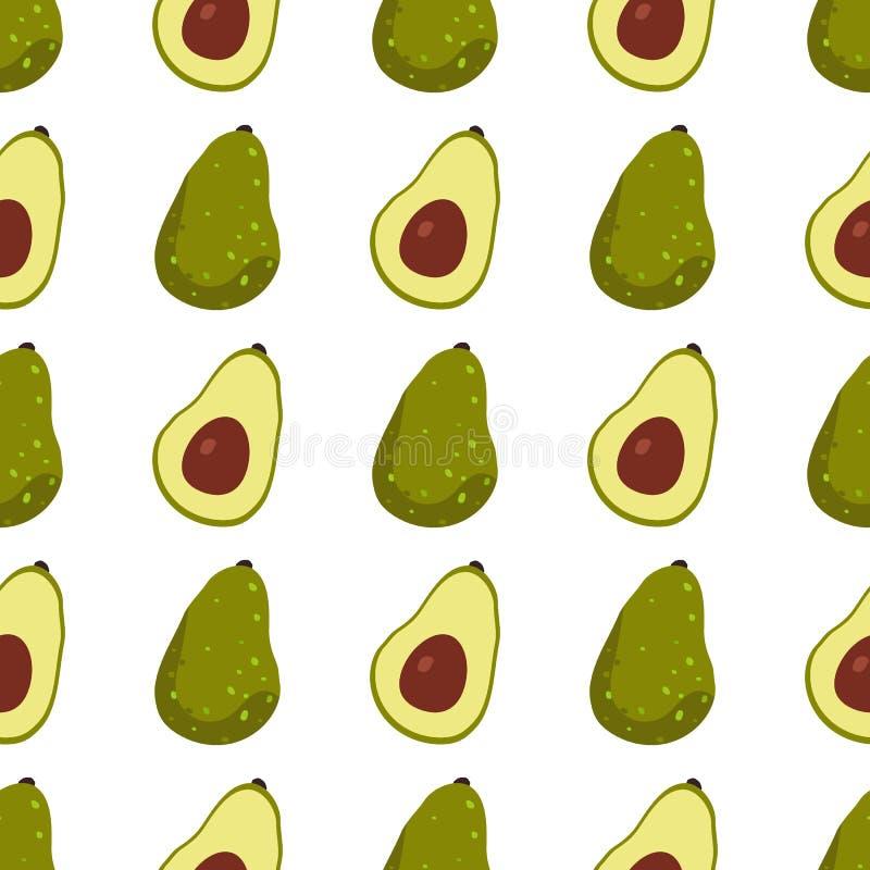 Άνευ ραφής σχέδιο φρούτων αβοκάντο στο άσπρο υπόβαθρο ελεύθερη απεικόνιση δικαιώματος