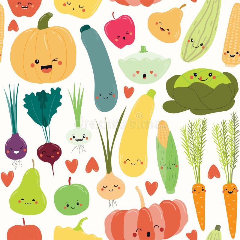 Άνευ ραφής σχέδιο φρούτων και λαχανικών Kawaii διανυσματική απεικόνιση