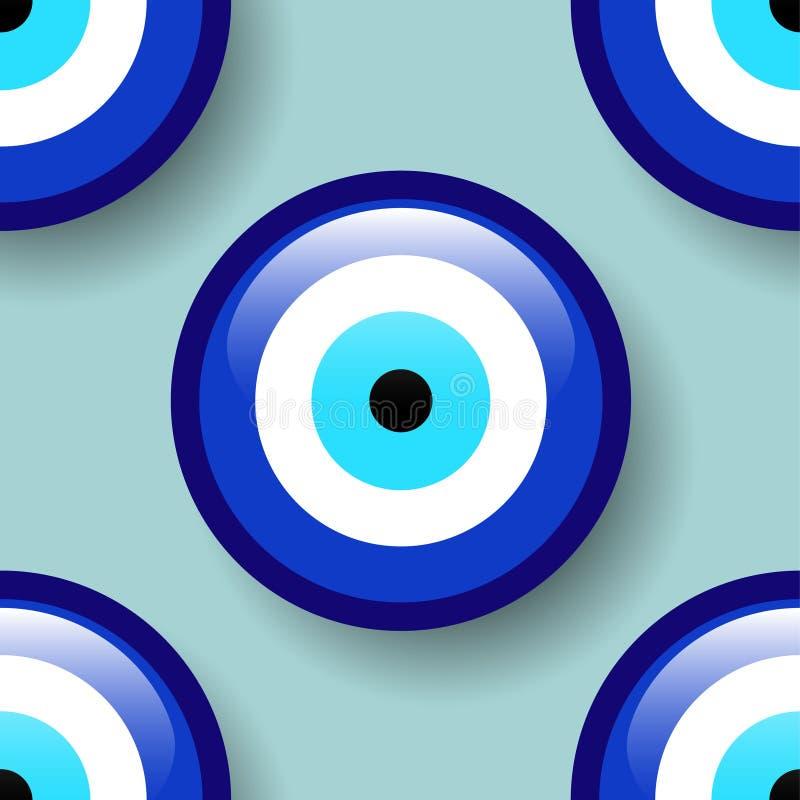 Άνευ ραφής σχέδιο φυλακτών, σχέδιο μπλε ματιών, από το κακό φυλακτό ματιών διανυσματική απεικόνιση
