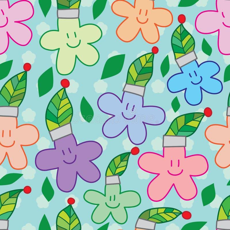 Άνευ ραφής σχέδιο χαμόγελου καπέλων φύλλων λουλουδιών διανυσματική απεικόνιση