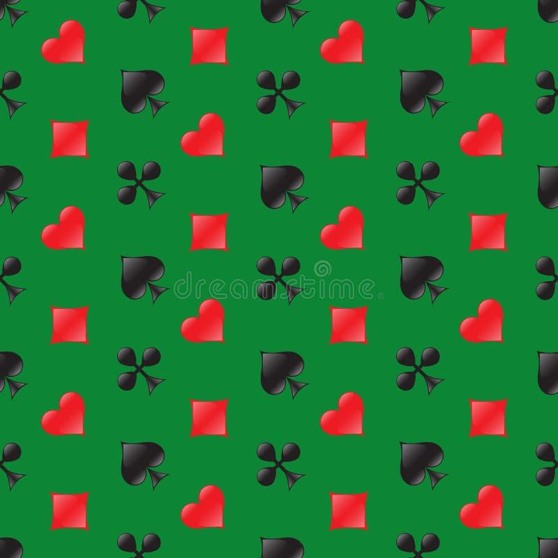 Άνευ ραφής σχέδιο χαρτοπαικτικών λεσχών με τα κοστούμια καρτών στο πράσινο υπόβαθρο επίσης corel σύρετε το διάνυσμα απεικόνισης διανυσματική απεικόνιση