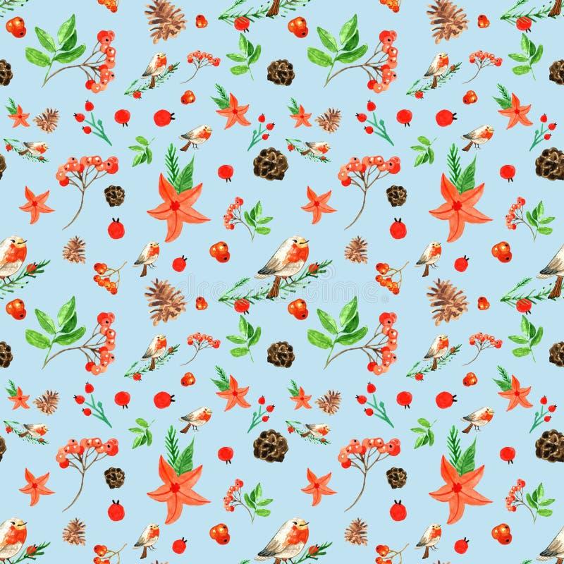 Άνευ ραφής σχέδιο χειμερινών Χριστουγέννων με το χαριτωμένο bullfinch, μούρα σορβιών, κώνοι πεύκων, κόκκινα λουλούδια διανυσματική απεικόνιση