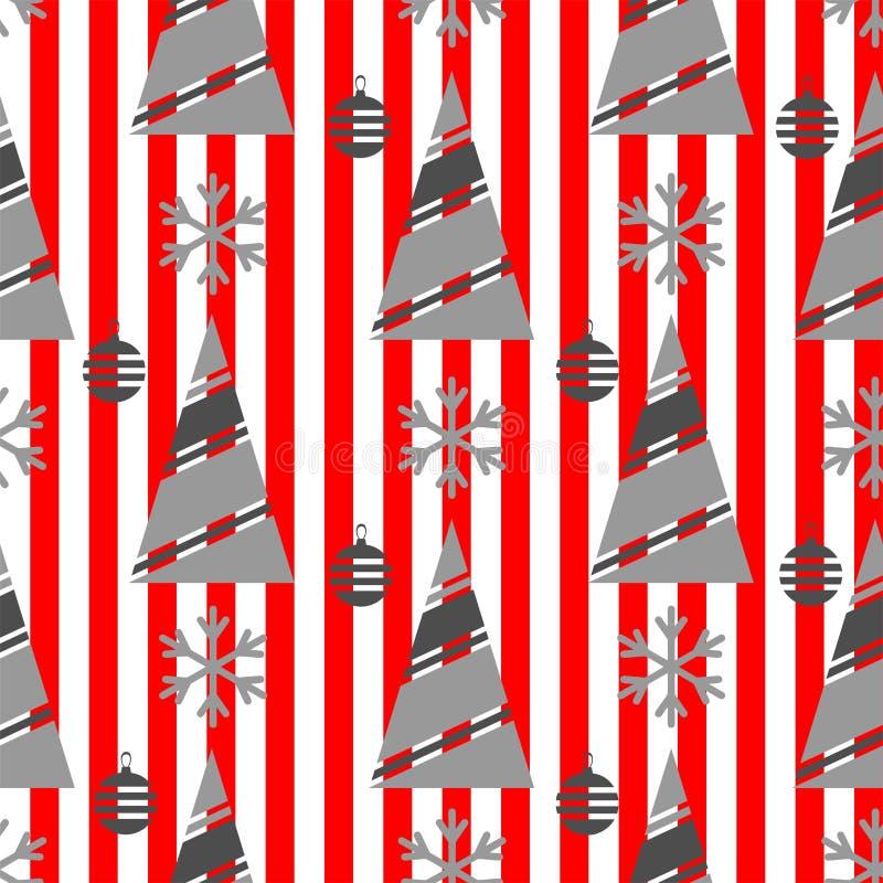 Άνευ ραφής σχέδιο χειμερινών Χριστουγέννων σε ένα κόκκινο υπόβαθρο με τα άσπρα λωρίδες διανυσματική απεικόνιση
