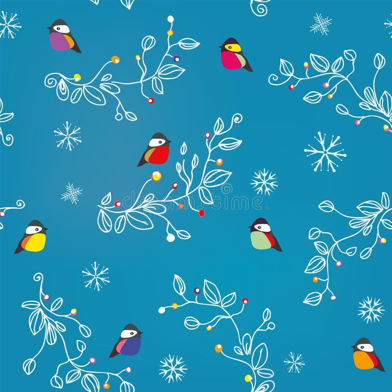 Άνευ ραφής σχέδιο χειμώνα ή Χριστουγέννων με τα πουλιά, το χιόνι και τις διακοσμήσεις ελεύθερη απεικόνιση δικαιώματος