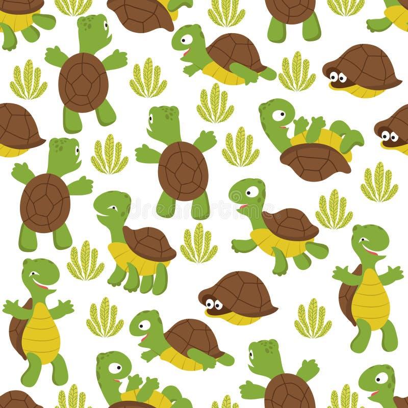 Άνευ ραφής σχέδιο χελωνών Άγριος χαριτωμένος η σύσταση τυπωμένων υλών για το κλωστοϋφαντουργικό προϊόν παιδιών ελεύθερη απεικόνιση δικαιώματος