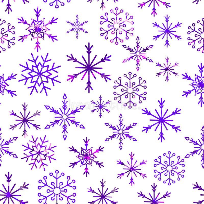 Άνευ ραφής σχέδιο χιονιού Χριστουγέννων όμορφα snowflakes που αφορούν και που διασκορπίζονται με την κεραμωμένη διακόσμηση επανάλ διανυσματική απεικόνιση