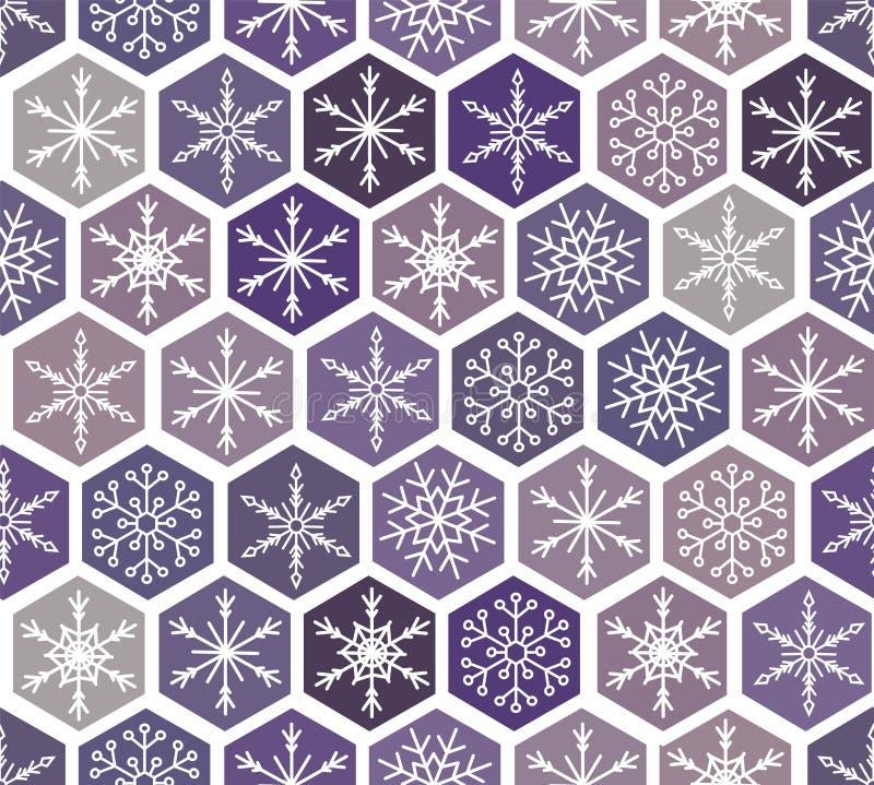 Άνευ ραφής σχέδιο χιονιού Χριστουγέννων όμορφα snowflakes που αφορούν και που διασκορπίζονται με την κεραμωμένη διακόσμηση επανάλ ελεύθερη απεικόνιση δικαιώματος