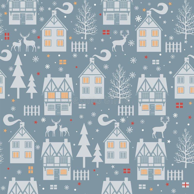 Άνευ ραφής σχέδιο Χριστουγέννων με τα σπίτια, τα δέντρα, τα ελάφια και τα κιβώτια r ελεύθερη απεικόνιση δικαιώματος