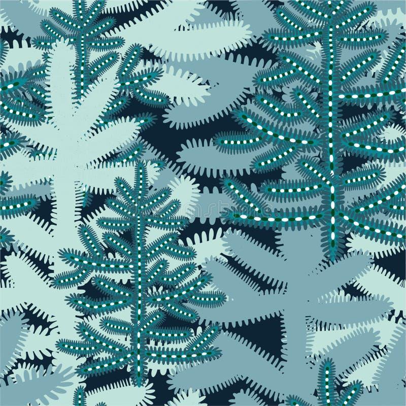 Άνευ ραφής σχέδιο Χριστουγέννων με τα τυποποιημένα χιονώδη χριστουγεννιάτικα δέντρα διανυσματική απεικόνιση