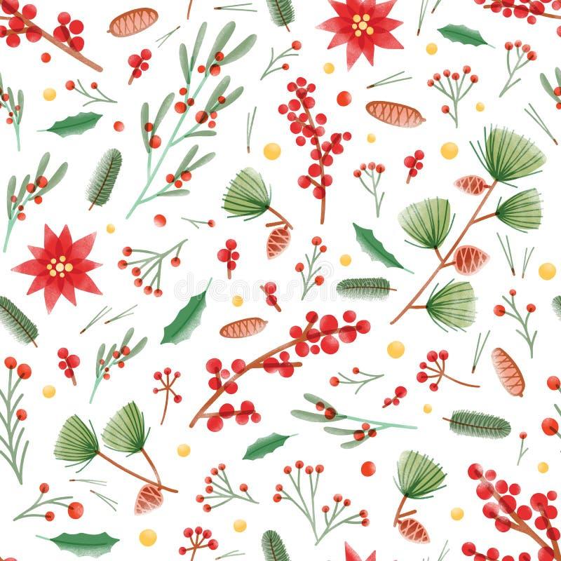 Άνευ ραφής σχέδιο Χριστουγέννων με τα φύλλα ελαιόπρινου, τα φυτά poinsettia και γκι, τους κώνους πεύκων και τους κλάδους στο λευκ απεικόνιση αποθεμάτων