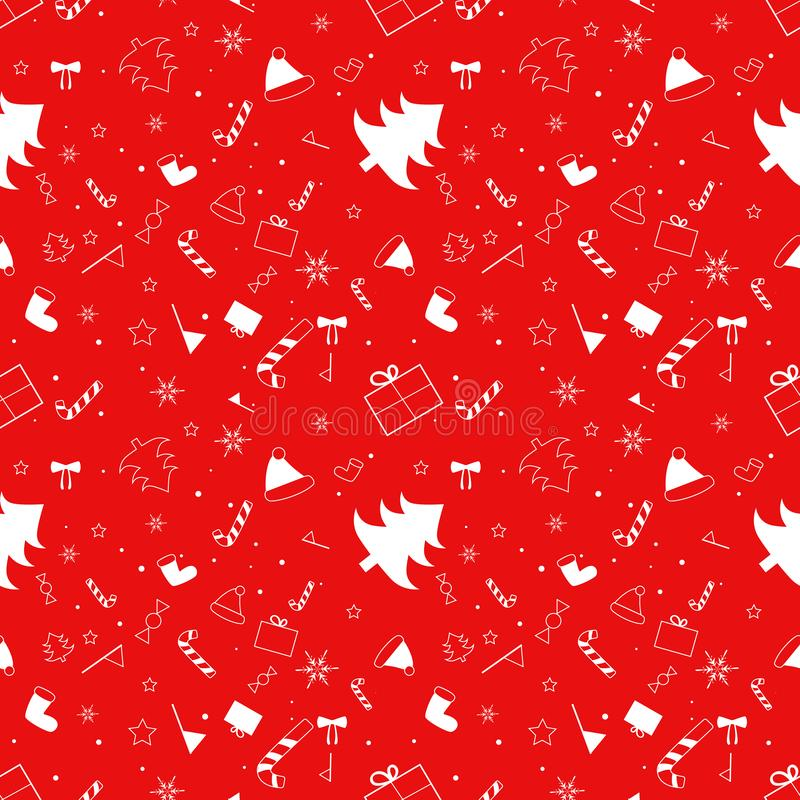 Άνευ ραφής σχέδιο Χριστουγέννων με τη διακόσμηση διακοπών διανυσματική απεικόνιση