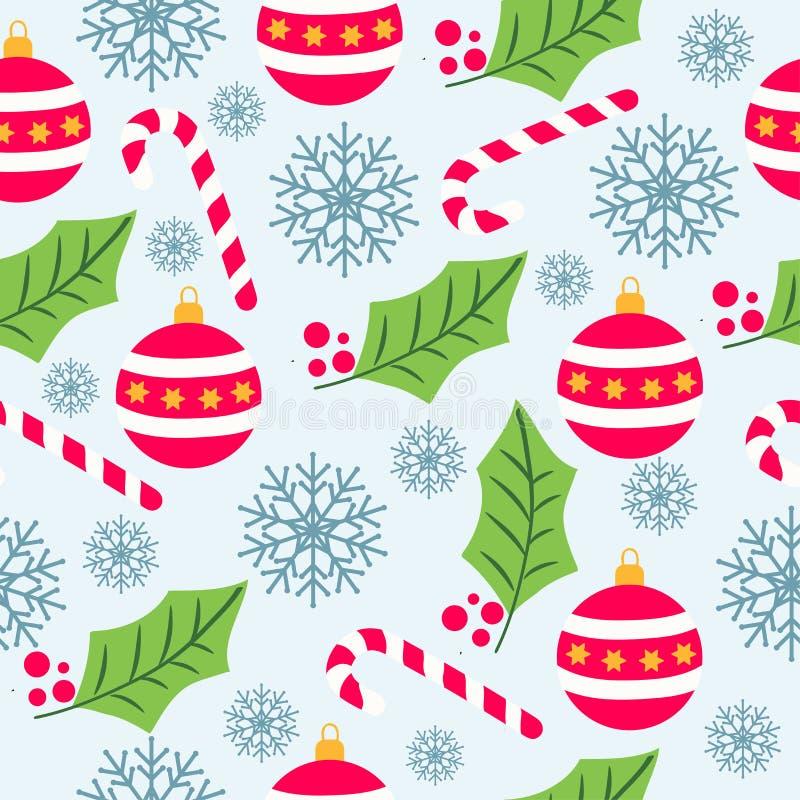 Άνευ ραφής σχέδιο Χριστουγέννων με τις σφαίρες Χριστουγέννων, κάλαμοι καραμελών απεικόνιση αποθεμάτων