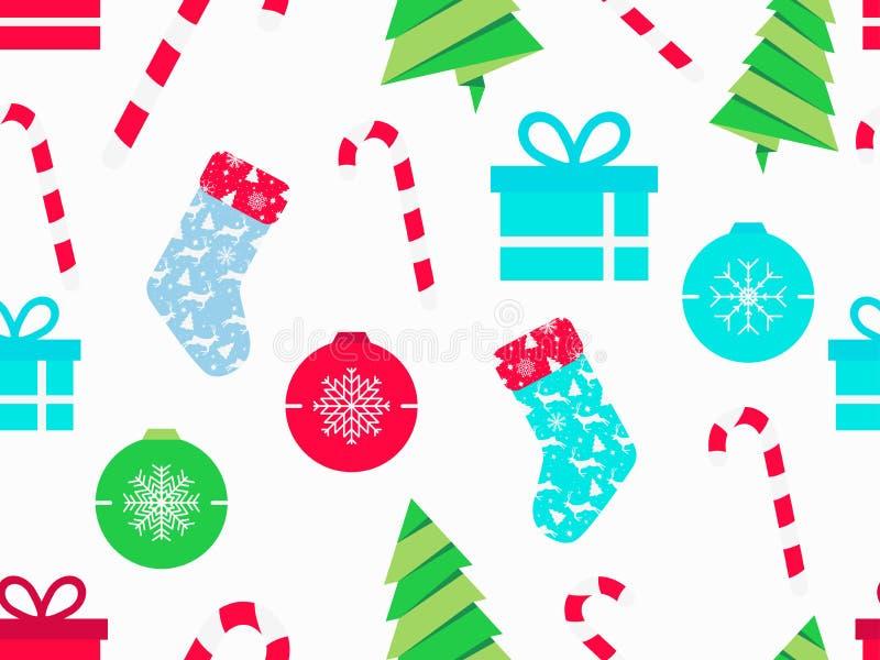 Άνευ ραφής σχέδιο Χριστουγέννων με τους καλάμους καραμελών, τις κάλτσες Χριστουγέννων, τα κιβώτια δώρων και το δέντρο έλατου Σύμβ απεικόνιση αποθεμάτων