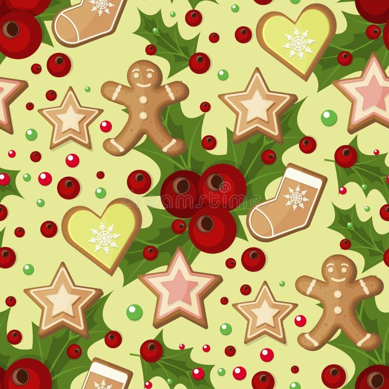 Άνευ ραφής σχέδιο Χριστουγέννων με το κομψό έγγραφο Χριστουγέννων χειμερινών διακοπών απεικόνισης μούρων και αστεριών ελαιόπρινου ελεύθερη απεικόνιση δικαιώματος