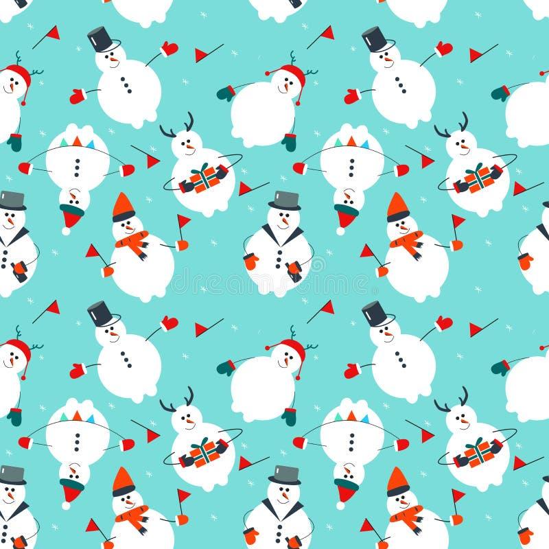 Άνευ ραφής σχέδιο Χριστουγέννων με το χιονάνθρωπο και τη διακόσμηση διακοπών απεικόνιση αποθεμάτων