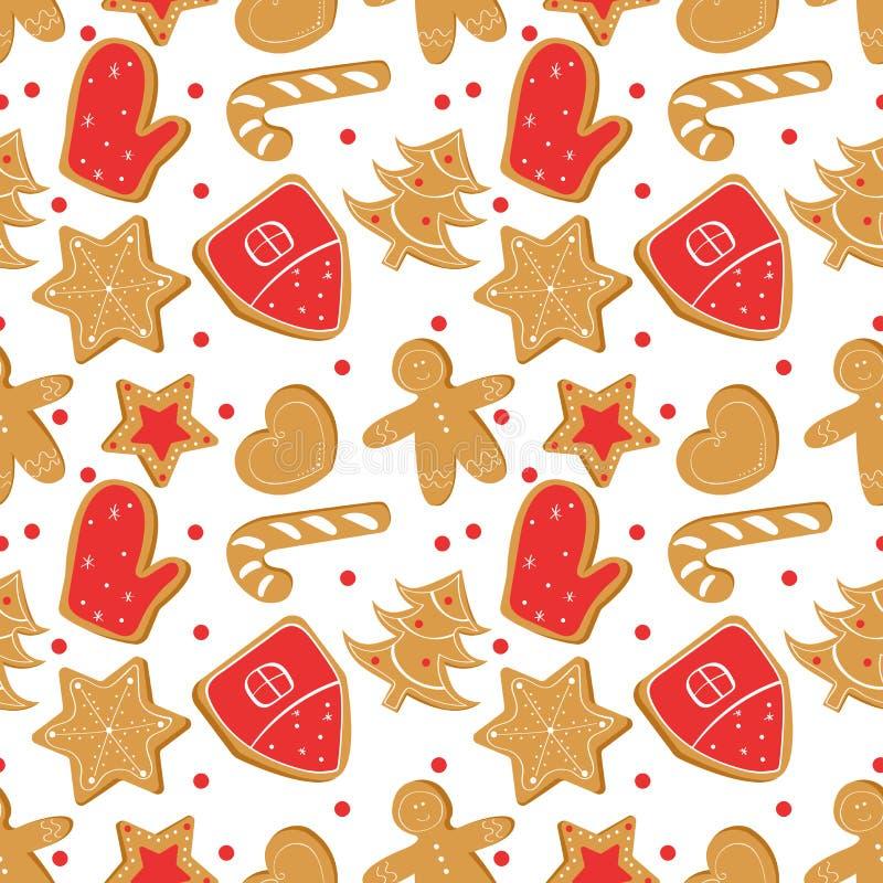 Άνευ ραφής σχέδιο Χριστουγέννων με το ψωμί πιπεροριζών Μπισκότα διακοπών ελεύθερη απεικόνιση δικαιώματος