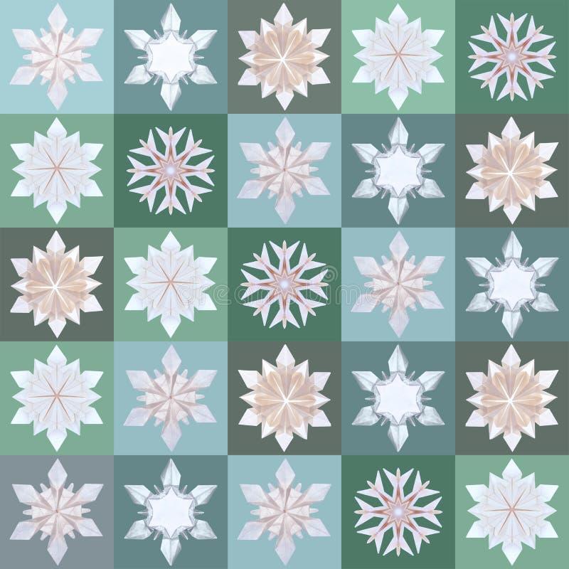 Άνευ ραφής σχέδιο Χριστουγέννων με snowflakes την εκλεκτής ποιότητας τέχνη ελεύθερη απεικόνιση δικαιώματος