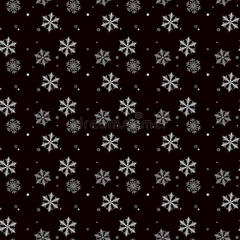 Άνευ ραφής σχέδιο Χριστουγέννων snowflakes γκρίζα και άσπρα στο μαύρο υπόβαθρο διανυσματική απεικόνιση